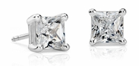 .98ctw Princess Cut Diamond Stud Earrings, SI1-VS2, G-H