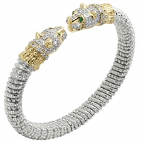 Alwand Vahan Sterling Silver & 14K Yellow Gold Bracelet with Jaguar Diamond Encrusted Head & Tsavorite Garnet Eyes