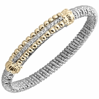 Alwand Vahan Sterling Silver & 14K Yellow Gold Diamond Bracelet with Beaded Design