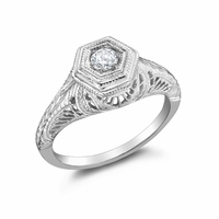 AMELIA - 14K White Gold and Diamond Vintage Promise Ring - .16ct