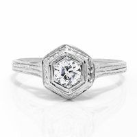 Edwardian 14K White Gold & Diamond Engagement Ring