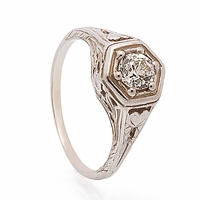 Antique Reproduction Diamond Filigree Ring