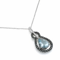 Aquamarine & Diamond Drop Necklace