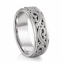 ARTCARVED ARDENT Carved Scroll Design Palladium Wedding Band
