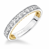 ArtCarved Diamond Band with 14K Yellow Gold Rope Edge