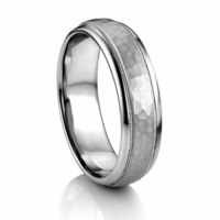 Artcarved PARRISH Hammer Finished Palladium Wedding Band