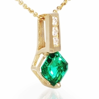 Asscher Cut Lab Emerald Pendant