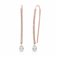 Bare Diamonds - 18K Rose Gold & Pear Shape Diamond Drop Earrings