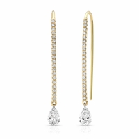 Bare Diamonds - 18K Yellow Gold & Pear Shape Diamond Drop Earrings