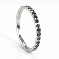 Benchmark 14K White Gold Black Diamond Eternity Band