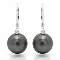 Black South Sea Pearl & Diamond Earring