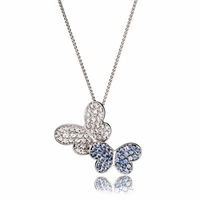 Blue Sapphire & Diamond Butterfly Necklace