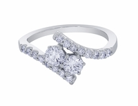 Bypass Design Two Stone Diamond Ring