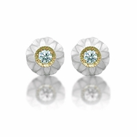 Galatea Carved White Freshwater Pearl & Diamond Stud Earring