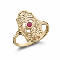 CLARA - Ladies 14K Yellow Gold & Ruby Ring
