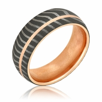 Damascus Steel & Rose Gold Dome Wedding Band by Lashbrook