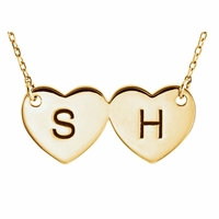 Engravable Double Heart Necklace