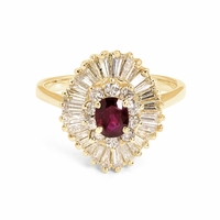 Estate 14K Gold, Ruby & Diamond Ballerina Ring