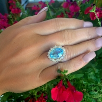 Estate 14K Yellow Gold, Large Blue Topaz and Diamond Ring