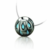 Galatea Pearl, Turquoise Diamond Tahitian Pearl Necklace