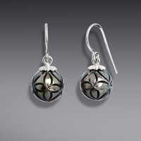 Galatea Carved Tahitian Pearl Earrings Floral Style