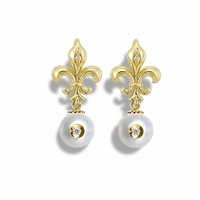 Galatea Diamond in Pearl Fleur De Lis Style Earrings