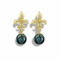 Galatea Pearl, Turquise and Tahitian Pearl Fleur De Lis Earrings