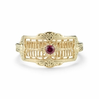 GWENDOLYN - 14K Yellow Gold & Ruby Vintage Style Ring