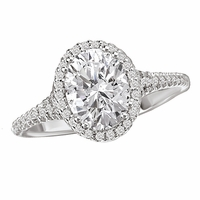 Halo Semi-Mount Split Shank Engagement Ring