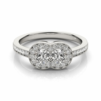Brianna - Halo Two Stone Diamond Ring