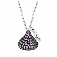 Hershey's Kiss Sterling Silver Necklace with Amethyst CZs