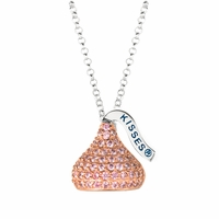 Hershey's Kiss Sterling Silver Necklace with Light Pink CZs