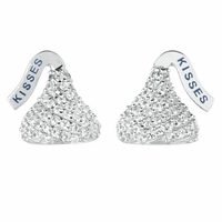 Hershey's Kiss Sterling Silver Studs with White CZs
