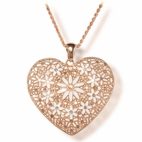 Italian Rose Gold Plated Silver Heart Necklace