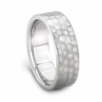 J.R. YATES Palladium Hammer Finish Wedding Band, 7mm, PD500