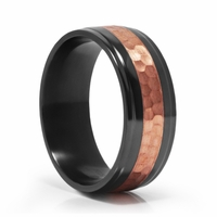 J.R.Yates SCORCH Black Zirconium & Copper Ring