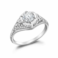 JULIET - Ladies 14k White Gold & Diamond Filigree Engagement Ring