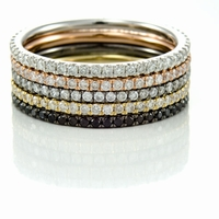 Ladies 14K Gold & Diamond Eternity Stackable Band SET by Belloria