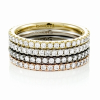 Ladies 14K Gold & Diamond  Stackable Bands - SET by Belloria