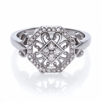 Ladies 14K Hexagon Shaped Diamond Cluster Ring