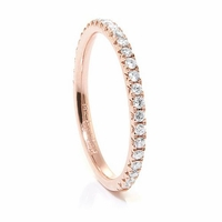 Ladies 14K Rose Gold & Diamond Wedding Band by Belloria