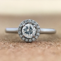 Ladies 14K White Gold and Diamond Halo Promise Ring