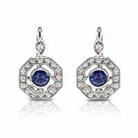 18K, Diamond & Sapphire Vintage Style Earrings by Beverley K