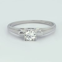 Ladies 1950s Vintage Platinum ArtCarved Diamond Solitaire Ring