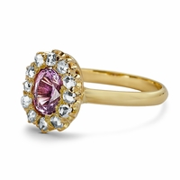Ladies Antique Pink Sapphire & Diamond Ring - Bella