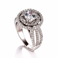 Ladies Diamond Semi-Mount Double Halo Ring