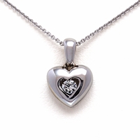Ladies Heart Necklace with Diamond