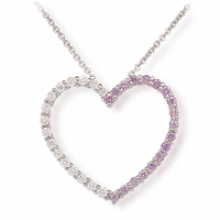 Ladies Lavender Diamond Heart Necklace