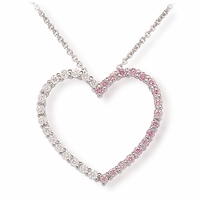 Ladies Pink Diamond Heart Necklace