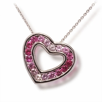 Ladies Pink Sapphire Heart Necklace